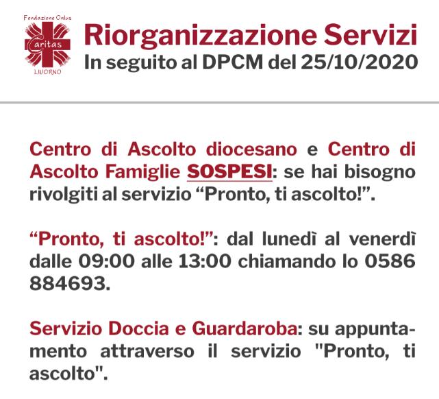Riorganizzazione dei servizi della Caritas in seguito al DPCM del 25/10/20