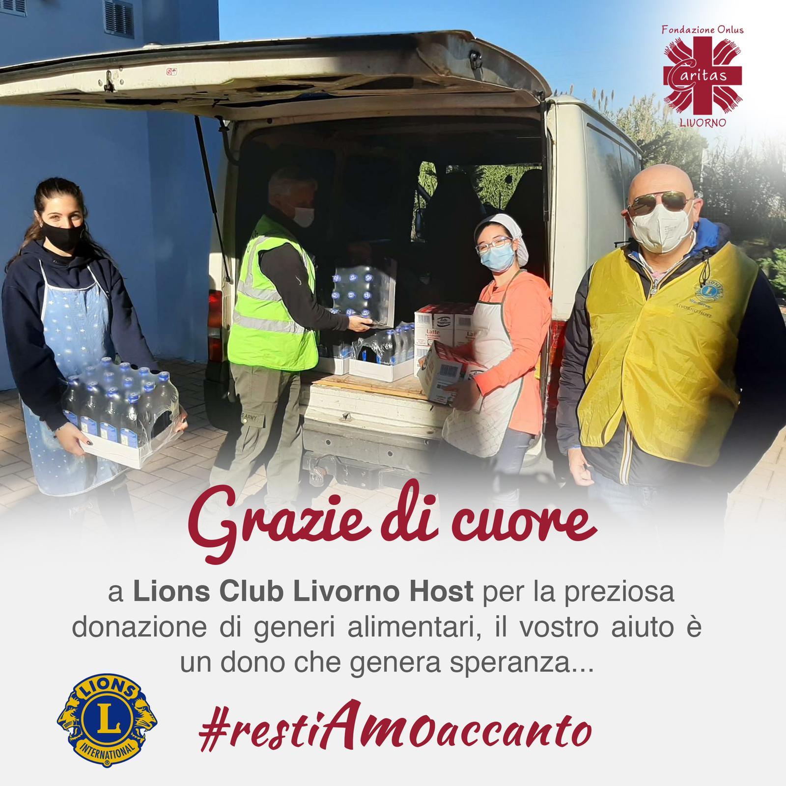 Grazie al Lions Club Livorno Host per la preziosa donazione di generi alimentari